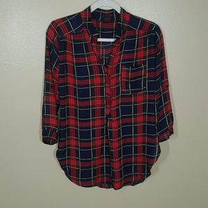 Cals Plaid 3/4 Sleeve Popover Shirt Small